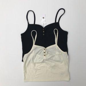 Topshop Strappy Button Crop Top Black Cream Size 8